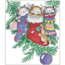 Рождественские носки с изображением кота вышивка крестом 11ct