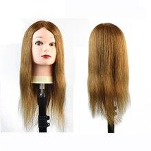 Long 80% Human Hair Hairdressing Training Practice Mannequin Manikin Head Salon Women Hairdresser Styling