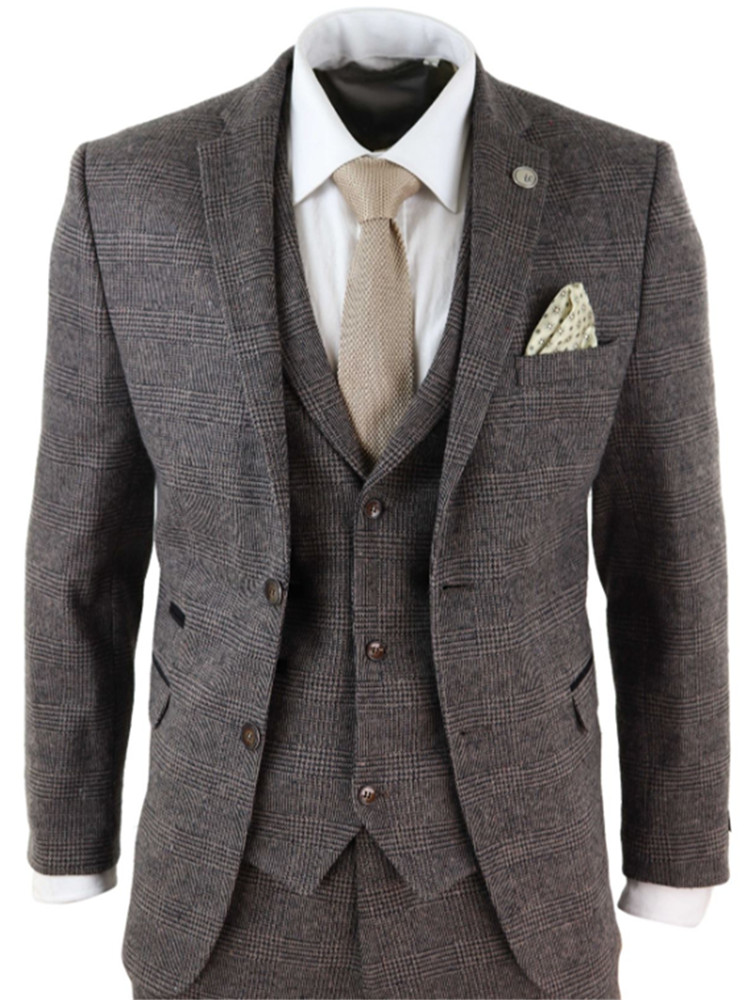2020 Brown Mens Suits Wool 3 Piece Check Costume Homme Tweed Tailored Fit Peaky Blinders Gatsby 1920s Suit