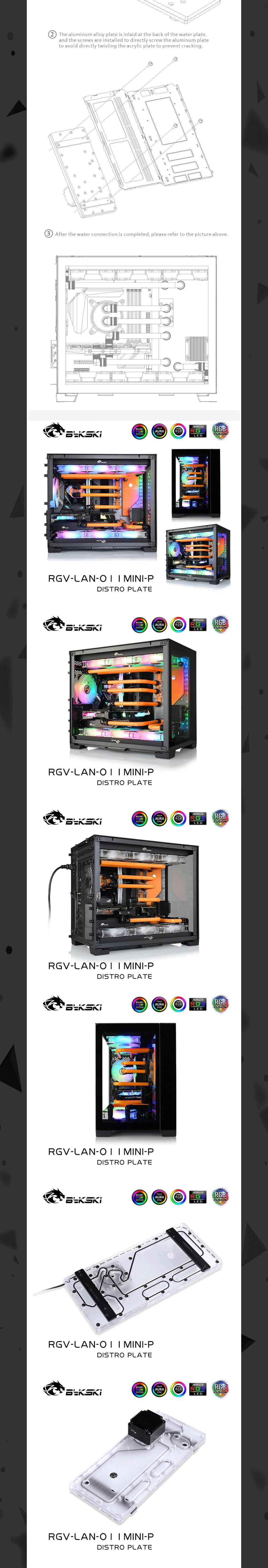 Bykski Waterway Cooling Kit For LIANLI O11Mini Case RBW For Intel CPU Water Block GPU Building, RGV-LAN-O11MINI-P