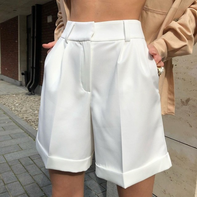 High Waist Shorts Women's Summer 2021 Elegant Soft Solid Color Loose Shorts with Pockets for Ladies Casual Short Femme Trousers 1