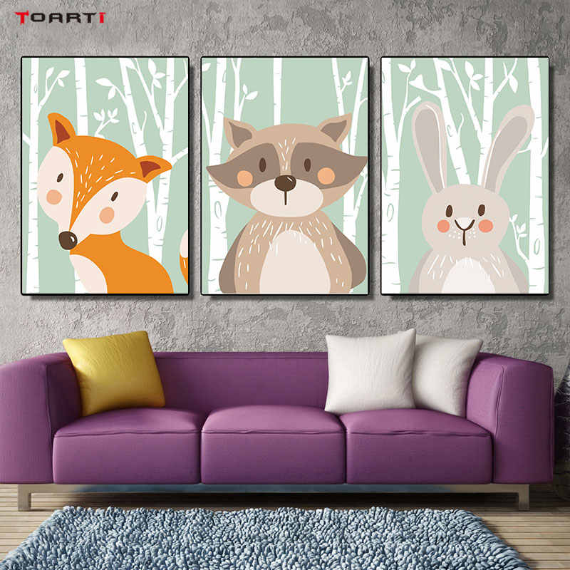Cartoon Forest Animals Poster Prints Rabbit Fox Bear Canvas Painting On The Wall For Kids Bedroom Nursery Art Picture Home Decor