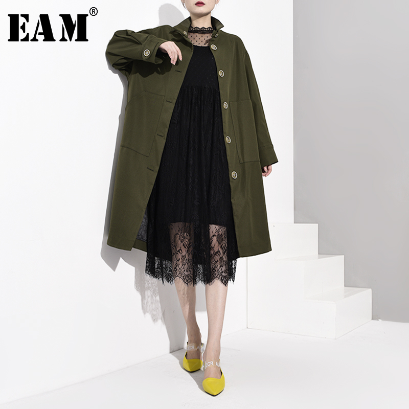 [EAM] Women Button Long Big Size Trench New Stand Collar Long Sleeve Loose Fit Windbreaker Fashion Spring Autumn 2020 WJ2200