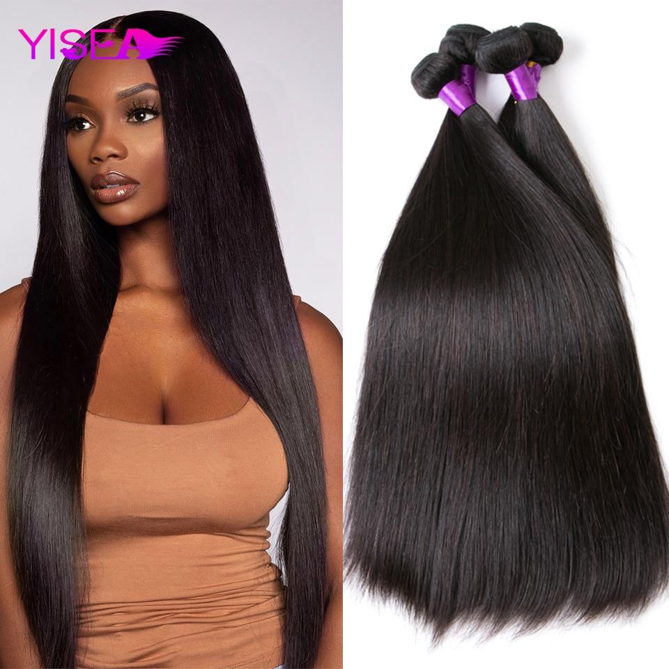 Yisea düz saç demetleri brezilyalı saç örgü demetleri 100% doğal insan saçı 1 3 4 demetleri çift atkı Remy saç ekleme