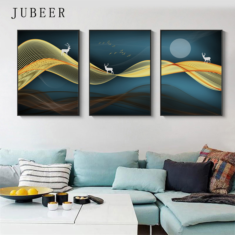 Nordic Style Deer Canvas Painting Abstract Lines Wall Art Moon Night Pictures Living Room Decoration Scandinavian Style Posters