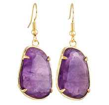 FYJS Unique Jewelry Light Yellow Gold Color Irregular Shape Trapezoid Natural Purple Amethysts Stone Earrings
