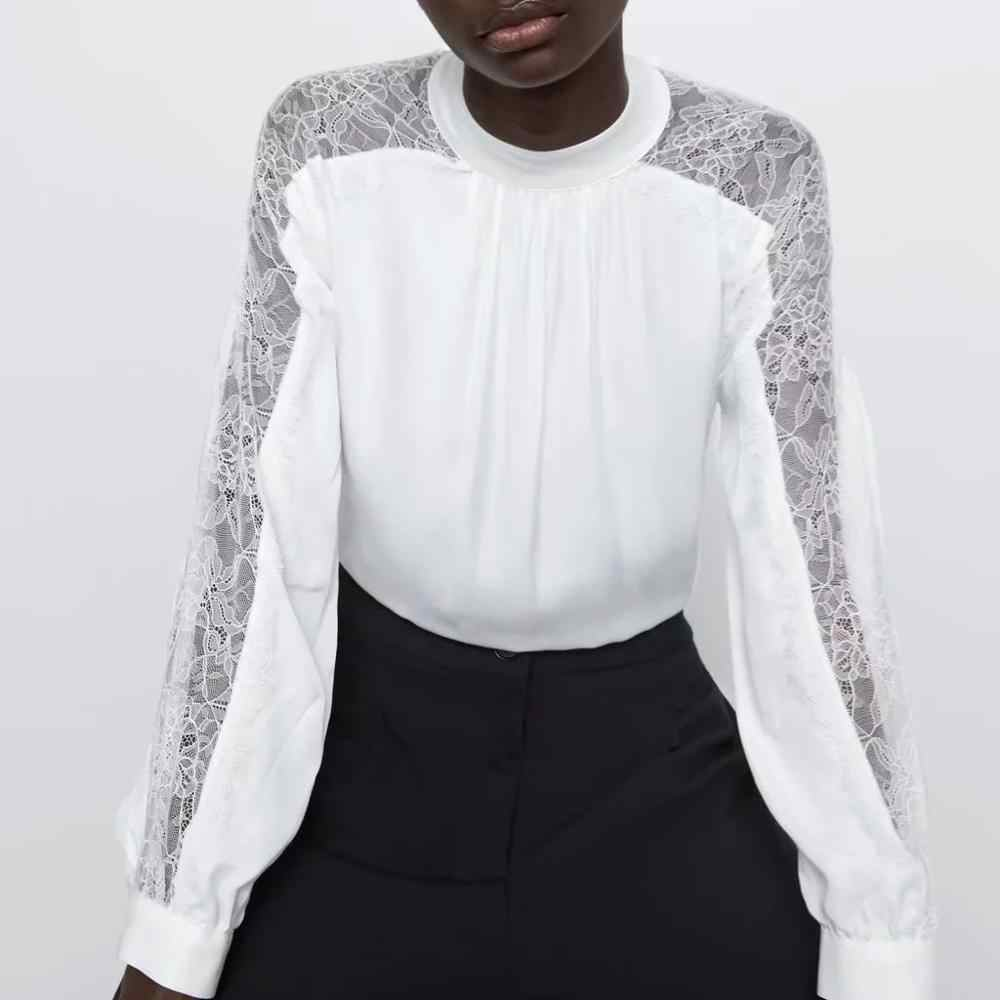 ZA blouse shirt women stitching tulle satin tops white chiffon lace see-through sleeve Casual ladies blouse female woman clothes
