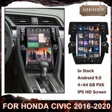 مشغل راديو متعدد الوسائط للسيارة يعمل بنظام الأندرويد 9.0 طراز PX6 لسيارة Honda civic 2016 2017 2018 2019 2020 محرك أقراص dvd نظام ملاحة جي بي إس مع مشغل كاربلاي