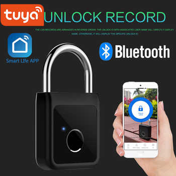 Tuya Smart Bluetooth Fingerprint Lock Phone unlock Keyless Fingerprint Lock USB Rechargeable Door Lock Smart Padlock Smart Life