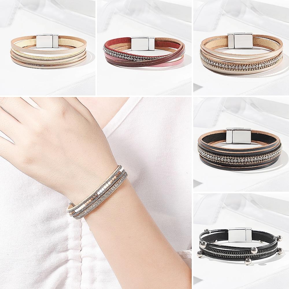 WYBU 41 Chakra Bracelet for Women with Colorful Stone Leather Wrap Healing Bead Bracelet Megnet Snap Boho Braclet Femme Jewelry