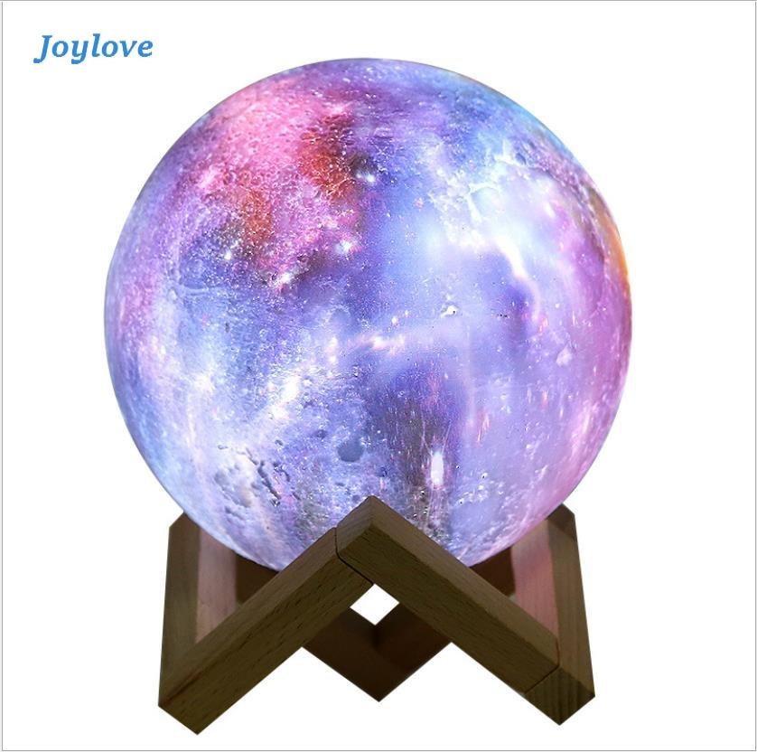 JOYLOVE Universe 3D Lamp Print Star Moon Lamp Colorful Change Touch Home Decor Creative Usb Led Night Light Galaxy Lamp|Light Beads| |  - title=