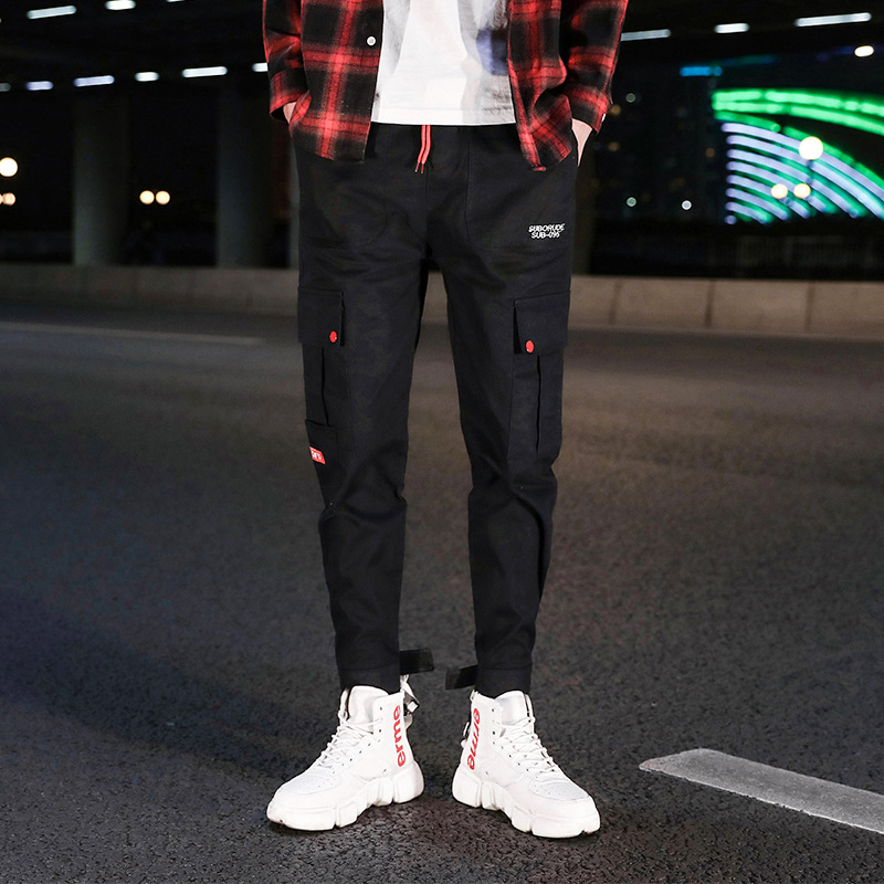 Spring MEN'S Casual Pants Japanese-style Youth Beam Leg Casual Trousers Men's Casual Bib Overall Cotton Trousers Fashion 1961