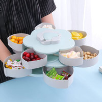Creative Flower Type Rotating Candy Box Plastic Snack Storage Tray Family Snacks Partition Box