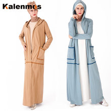 Dubai Muslim Open Abaya Kimono Women Hooded Pockets Long Robes Simple Casual Outwear Sport Outfit Tracksuit Islamic Clothing(China)