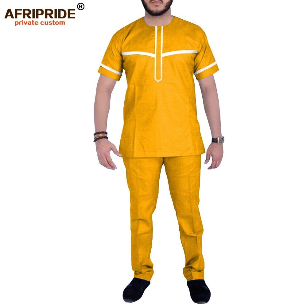 Men`s Casual African Dashiki Shirts And Pants Set Ankara Clothing Wax Tracksuit Short Sleeve Tops AFRIPRIDE A1916064