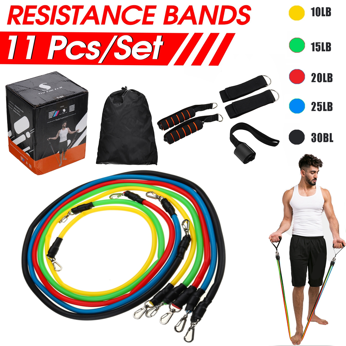 11 Pcs/Set Resistance Bands Tubes Natural Rubber Latex Elastic Band Pull Rope Stretch Training Home Gyms Fitness Equipments