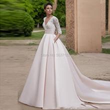 Vestido De Noiva Pink A Line Wedding Dresses with Pockets V Neck Beading Three Quarter A Line Bridal Gowns Court Train Brides