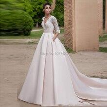 Vestido דה Noiva ורוד קו חתונת שמלות עם כיסים V צוואר ואגלי שלושה רבעון קו כלה שמלות משפט רכבת כלות