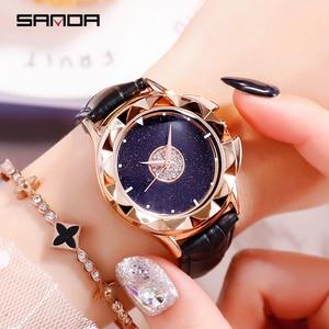 SANDA Rotating Watch Women Rhinestone Ladies Dress Women Watches Diamond Luxury Brand Wristwatch Ladies Crystal Quartz Clocks
