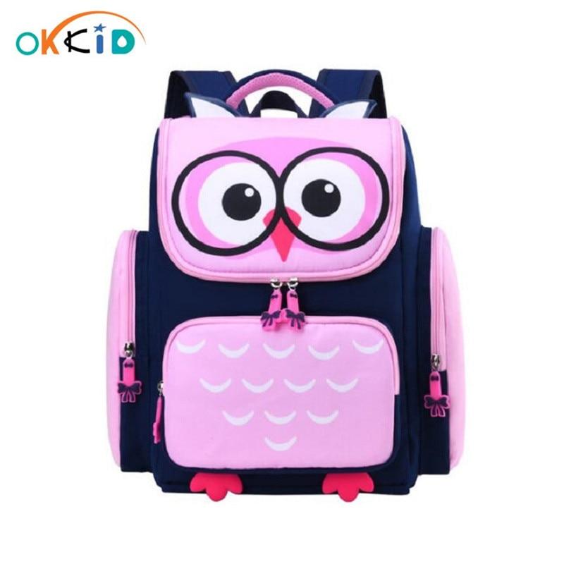 OKKID Children School Bags For Girls Cute Waterproof Animal Backpack Schoolbag Kids Pink Book Bag Elementary School Backpack