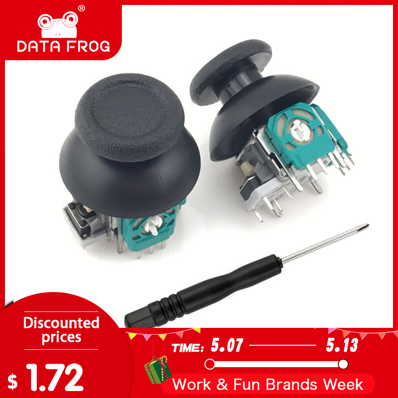 Data Frog 2 Pcs 3D Analog Axis 3D Joystick Module Potentiometer With 2xBlack Thumbsticks For Playstation 4 PS4 Controller Repair(China)