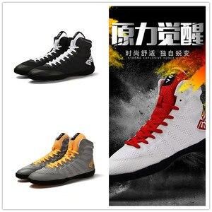 Gran oferta de zapatos de lucha para hombre, Zapatillas altas, zapatillas deportivas para hombre con cordones, bota de boxeo transpirable, botas de lucha para hombre blancas, negras y grandes