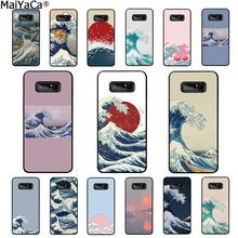 MaiYaCa Wave Art Japanese Green Illust Classic Soft Shell Phone Cover for Samsung Note 3 4 5 7 8 9 galaxy A50 A70 galaxy J7 2018(China)