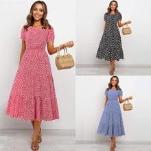 2020 summer women's new bohemian O neck lantern sleeve floral high waist stitching long dress vestidos