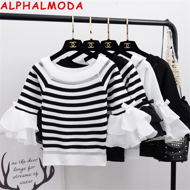 ALPHALMODA 2020 Spring Women Horn Sleeve Pullover Knitting Sweater 3/4 Sleeve Ruffled Sleeve Short Ladies Jumper