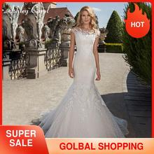 Ashley Carol robe de mariée style sirène en dentelle, avec des applications, épaules dénudées, robe de mariée Vintage Sexy, 2020