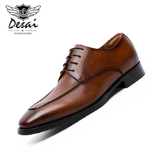 DESAI Brand New Genuine Leather Shoes Men Business Dress Waxing Lace-Up Cowhide Elegant Handmade for
