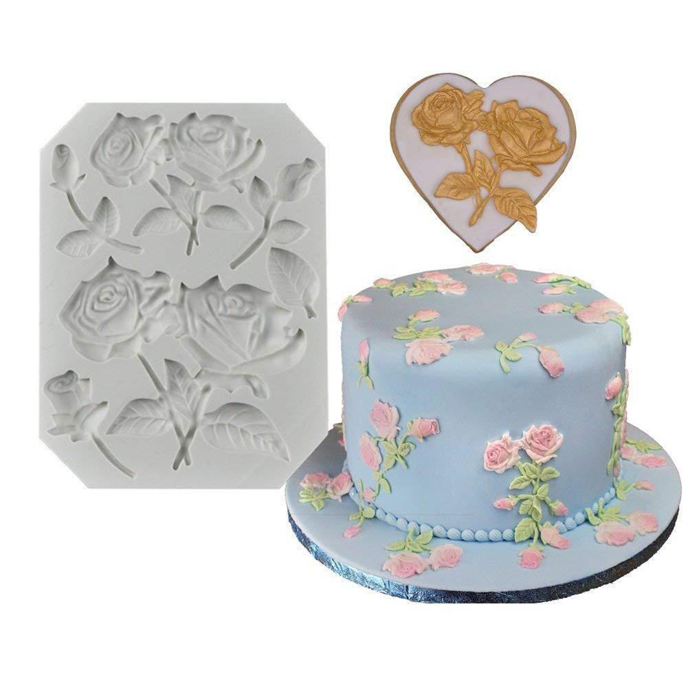 GloryStar Rose Shape Silicone Mold  For Chocolate Fondant Cake Decorating Tool
