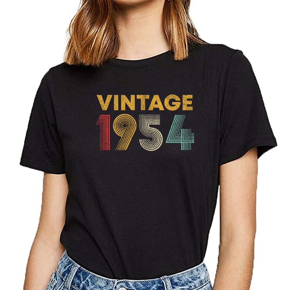 Female Tshirt Tops Vintage Short O-Neck 1954 Birthday 65th Men
