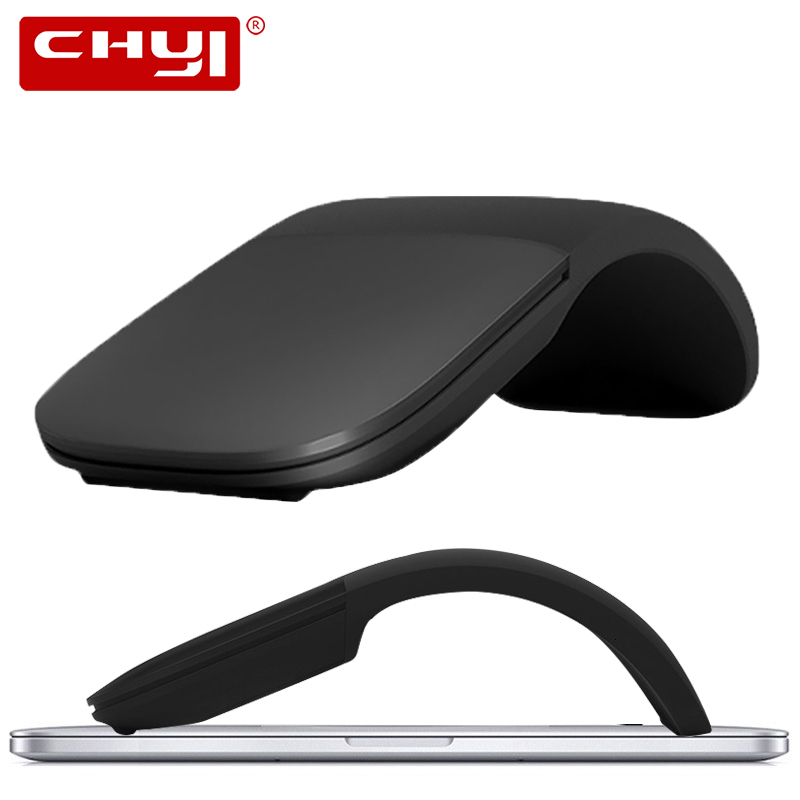 CHYI Foldable Silent Wireless Computer Mouse Arc Touch Roller Mice Ultra Thin Laser Gaming Folding Mause For Microsoft PC Laptop