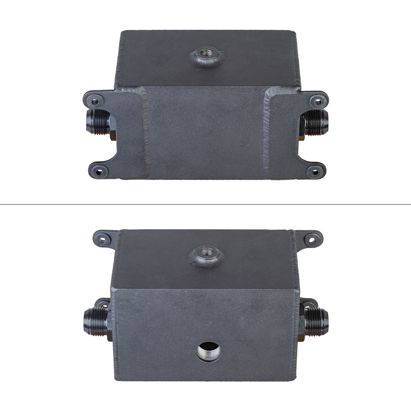 1.2L Dual Baffled Motor Oil Catch Can Reservoir Tank 1200ml AN10-10AN Black