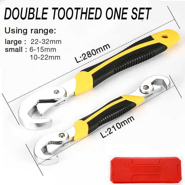 Color : 2pcs 6-32mm Multi-Function Wrench Adjustable Grip Wrench Set Ratchet Wrench Spanner Hand Tools Allen Key DIY Toos
