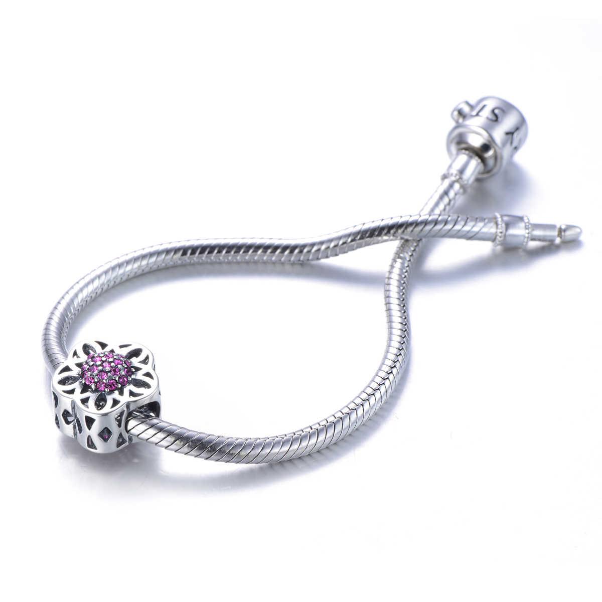 GW 925 пробы серебра с цветком Форма с фиолетовым кубического циркония Амулет браслет бусы для Для женщин