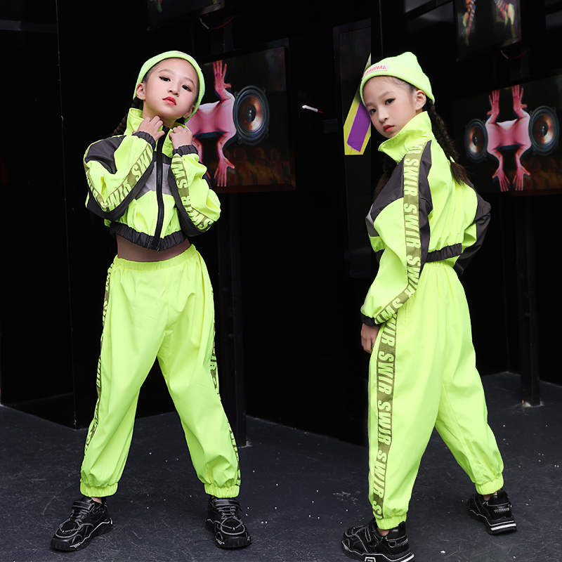 Children'S Jazz Dance Costume Fluorescent Green Performance Suit Girl'S Hip Hop Clothes Fashion Street Wear Dance Clothing B1241