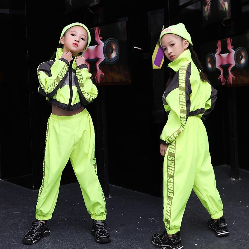Children'S Jazz Dance Costume Fluorescent Green Performance Suit Girl'S Hip Hop Clothes Fashion Street Wear Dance Clothing B1241