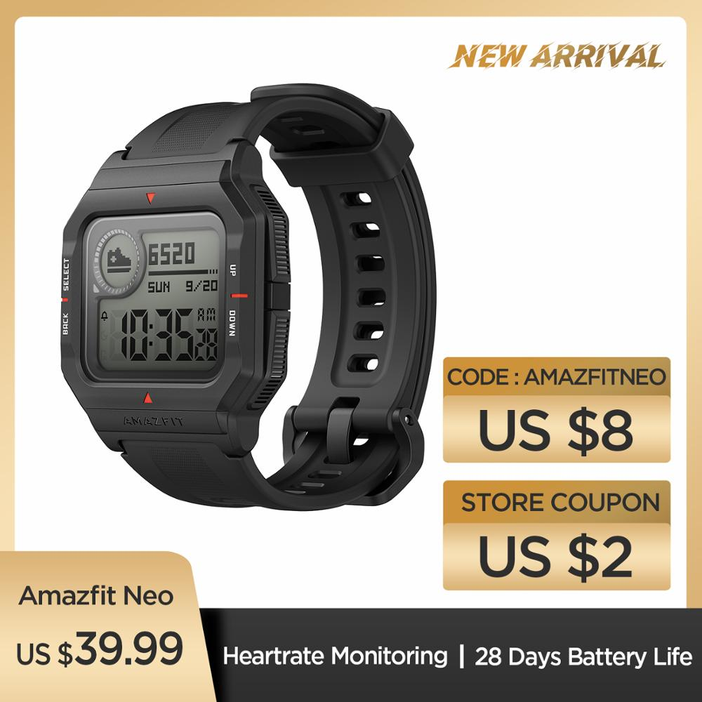 Presale NEW 2020 Amazfit Neo Smart Watch Bluetooth Smartwatch 5ATM Heart Rate Tracking 28Days Battery Life