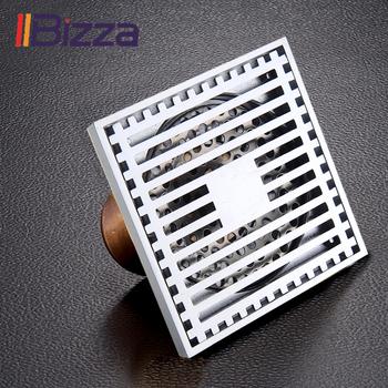 IIBizza Bathromm odpływ prysznicowy antyczny mosiężny odpływ kwadratowa podłoga odpady kratki dezodorant sitko odpady do włosów ruszt odpływowy tanie i dobre opinie Mosiądz Typ dezodoryzacji Innych Piętro Specjalne wpustu do pralki Plac Kanalizacji Chromowany A010