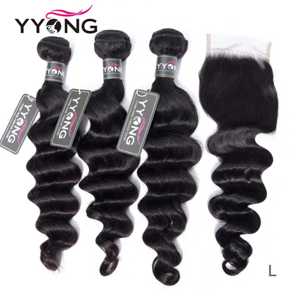 Yyong Hair Store 3 / 4 Bundles Loose Deep Bundles With Closure 100% Malaysian Remy Human Hair With Lace Closure Middle Ratio