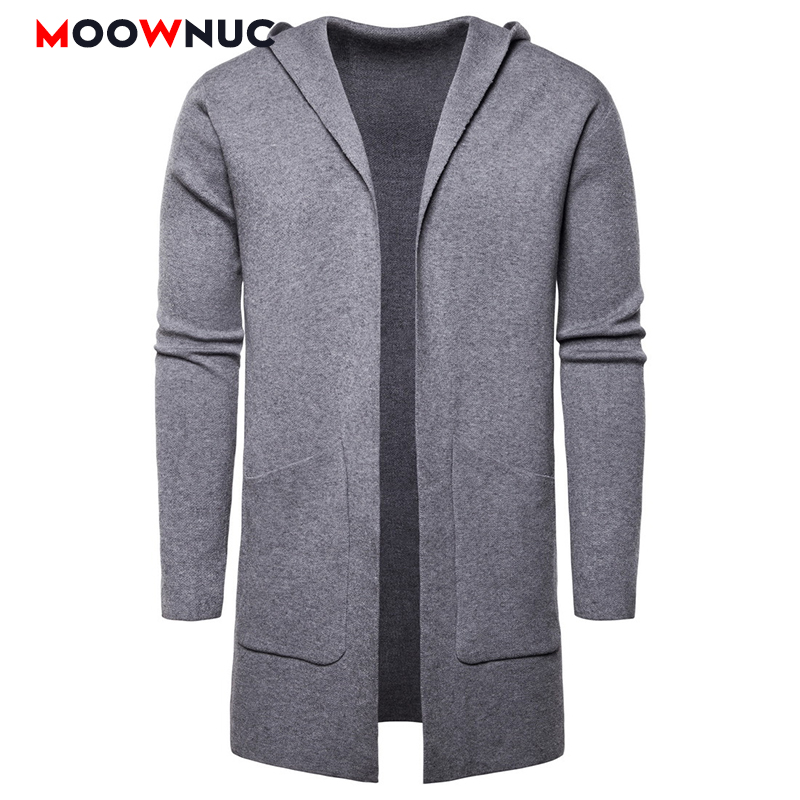 Men Fashion Long Sweaters Winter Cardigan Male Solid Warm Autumn Spring Brand MOOWNUC Homme Sweaters Casual Slim Windproof New