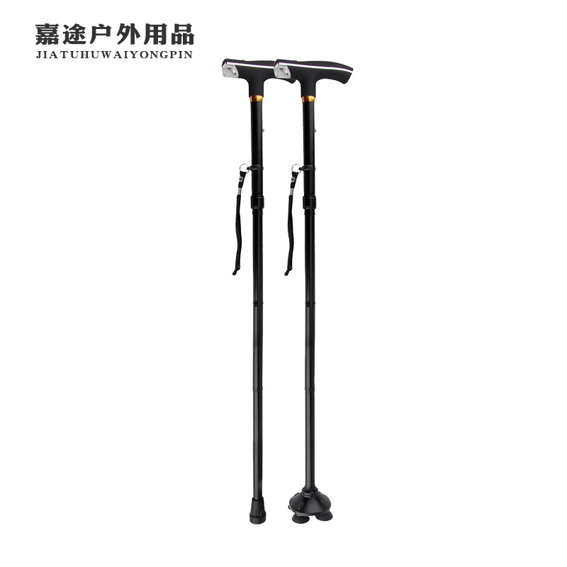 Currently Available Wholesale Elderly People Rod 4-Section Folding Wand Big Goods Can Add Logo Crutches Aluminium Alloy Ultra-Li