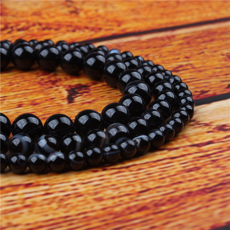 Black Striped Agate Natural Stone Bead Round Loose Spaced Beads 15 Inch Strand 4/6/8/10/12mm For Jewelry Making DIY Bracelet