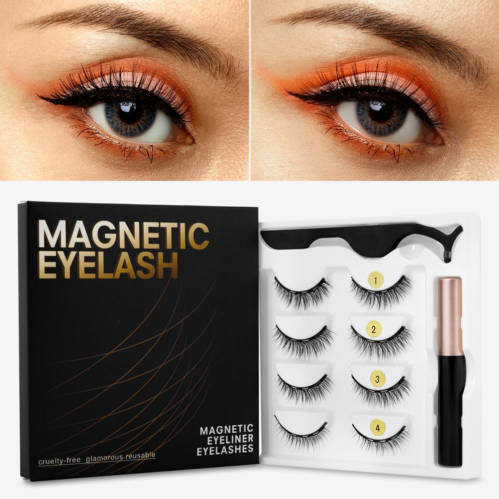 Magnetic Eyelashes 3D Mink Eyelashes Magnetic Eyeliner Magnetic Lashes Short False Lashes Lasting Handmade Eyelash Makeup Tool 4