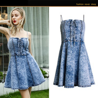 Free shipped 2019 summer new Denim dress with flounces strapless Sexy condole belt Pure color top women Hot style