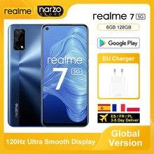 Versão global realme 7 5g smartphone 6gb 128gb dimensão 800u 6.5 Polegada 120hz exibição 48mp quad câmeras 5000mah 30w dardo carga