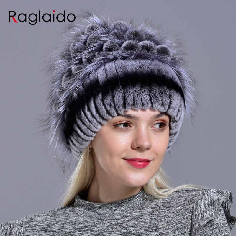 Image 3 - natural fur hats for women  winter knitted rabbit rex hand sewn real fur warm floral elegant girls fashionable stylish hatWomens Bomber Hats   -