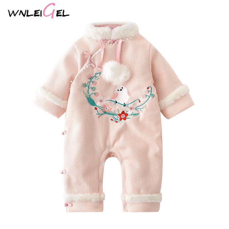 WLG/зимняя одежда для маленьких девочек; теплая розовая Новогодняя одежда из плотного хлопка на одной пуговице с круглым вырезом; костюм с
